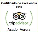 Certificado Excelencia 2016 Tripadvisor - Asador Aurora